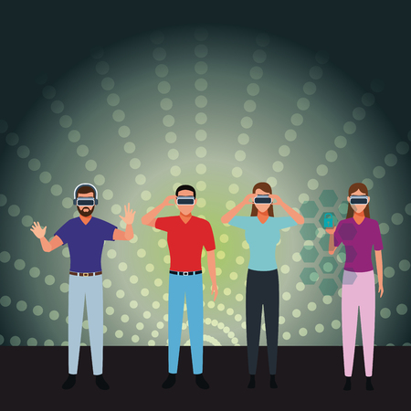 People playing with virtual reality glasses cartoon over hologram digital background vector illustration graphic design Vectores