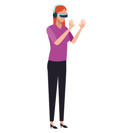 Woman playing virtual reality glasses cartoon vector illustration graphic design
