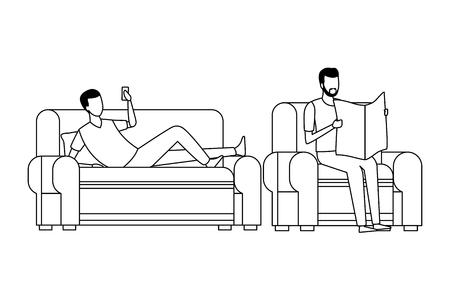 faceless men reading living room vector icon illustration graphic design Vettoriali