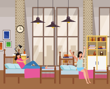 twin dormitory and faceless women vector icon illustration graphic design