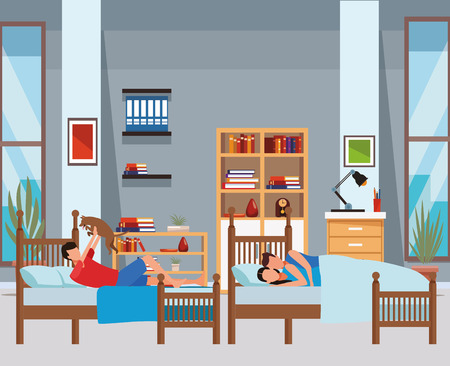 twin bed room and couple coodle vector icon illustration graphic design