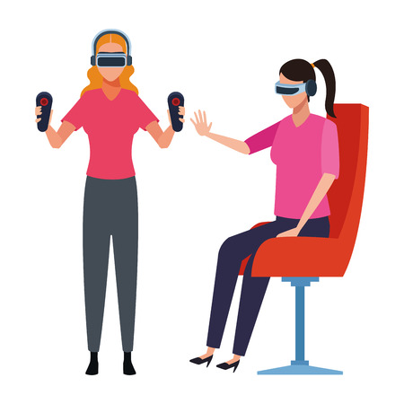 People playing with virtual reality glasses seated on chair vector illustration graphic design Vectores
