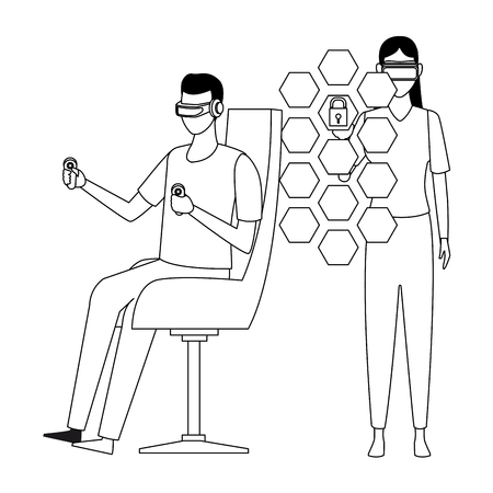 People playing with virtual reality glasses seated on chair vector illustration graphic design
