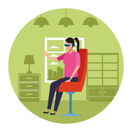 Woman playing virtual reality glasses seated on chair inside room round icon vector illustration graphic design Archivio Fotografico - 124708530