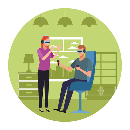 couple playing with virtual reality seated on chair inside room round icon vector illustration graphic design Archivio Fotografico - 124708533