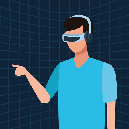 Man playing with virtual reality glasses cartooon profile over blue three dimensional background vector illustration graphic design