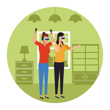 People playing with virtual reality glasses technology inside room round icon vector illustration graphic design