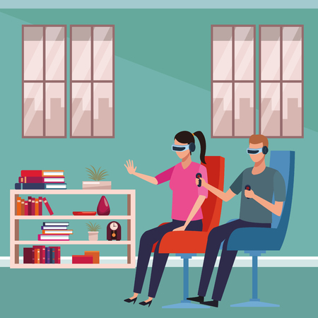 People playing with virtual reality glasses technology inside room scenery vector illustration graphic design Archivio Fotografico - 124708559
