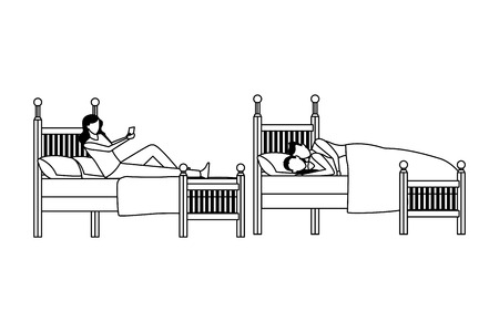 twin dormitory and couple coodle bed vector icon illustration graphic design Çizim