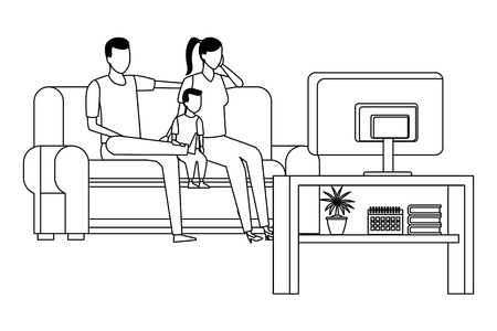 family sofa together and watching television vector icon illustration graphic design Stock fotó - 124708616