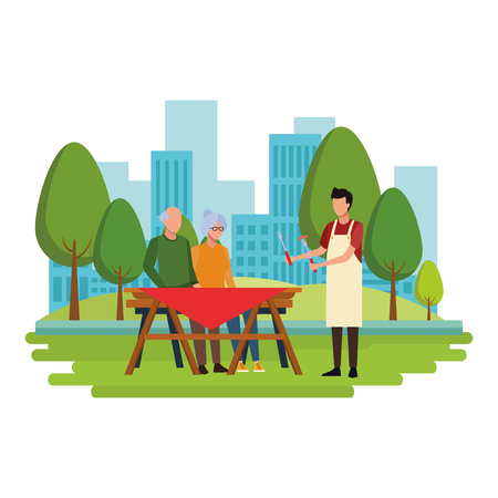faceless grandparents barbecue table vector illustration graphic design