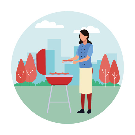 faceless mother cooking barbecue food vector illustration graphic design