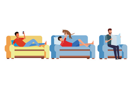 faceless people relax living room vector icon illustration graphic design