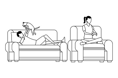 faceless people relax living room vector illustration graphic design