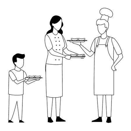 faceless family cooking barbecue food vector illustration graphic design