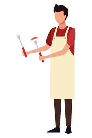 faceless man barbecue apron vector illustration graphic design