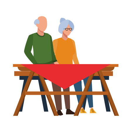 faceless grandparents outdoor table vector illustration graphic design