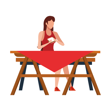 faceless woman barbecue food vector illustration graphic design