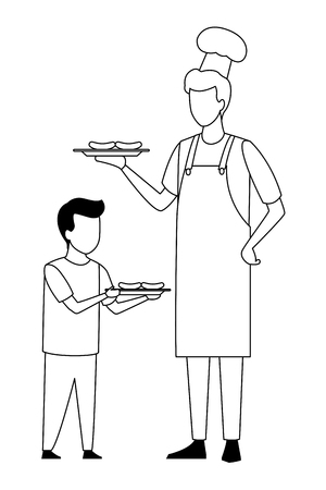 faceless father and son barbecue food vector illustration graphic design