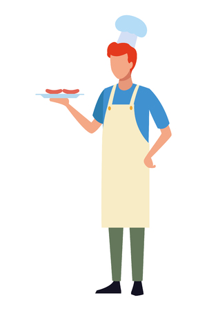 faceless chef barbecue food vector illustration graphic design