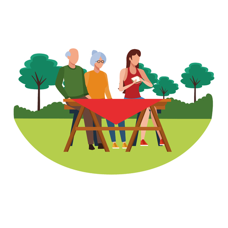 faceless family eating outdoor table vector illustration graphic design