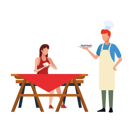 faceless woman barbecue food chef vector illustration graphic design