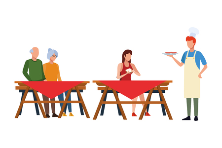 faceless people barbecue table vector illustration graphic design