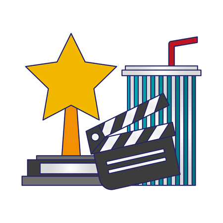 Movie and cinema star award and clapboard with soda cup vector illustration graphic design