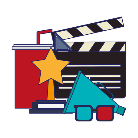 Movie and cinema soda cup clapboard and bullhorn with 3d glasses vector illustration graphic design 向量圖像