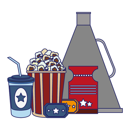 Movie and cinema bullhorn pop corn and soda with tickets elements vector illustration graphic design