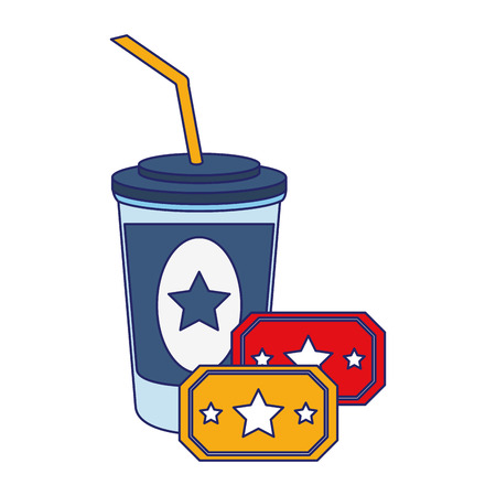 Movie and cinema soda cup and tickets elements vector illustration graphic design
