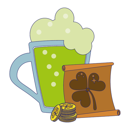 saint patricks beer cuo with coins and papyrus cartoons vector illustration graphic design