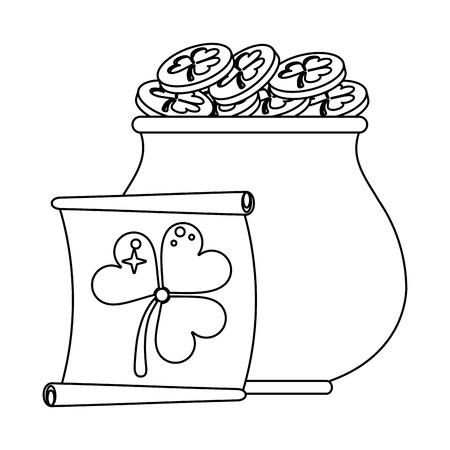 saint patricks coins pot and papyrus cartoons  vector illustration graphic design