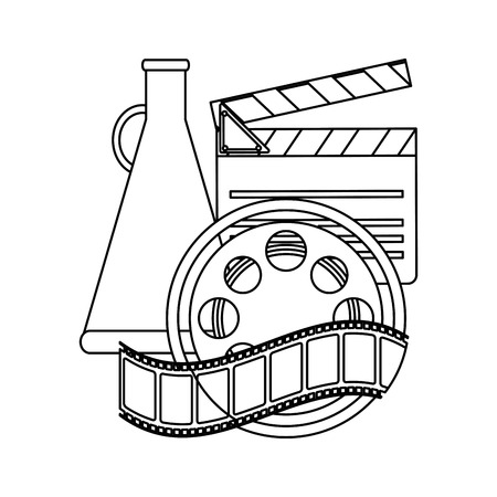 Movie and cinema clapboard reel and bullhorn elements  vector illustration graphic design Illustration