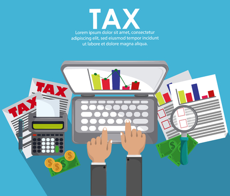 Tax pay office documents poster with cartoons vector illustration graphic design