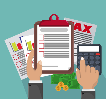 Tax pay office documents cartoons vector illustration graphic design Vektoros illusztráció