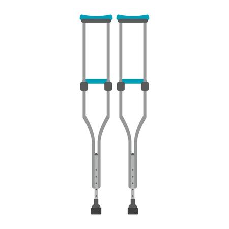 Paire de béquilles handicap isolés vector illustration graphic design