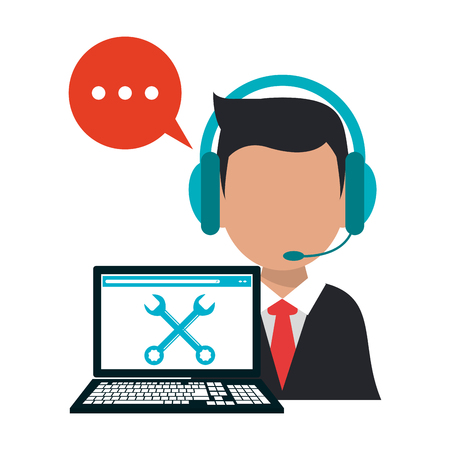 Call center operator with laptop technical support vector illustration graphic design