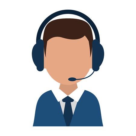 Call center agent with headphones avatar vector illustration graphic design Vetores