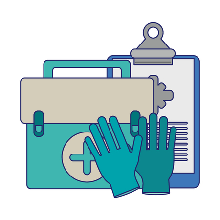 Medical healthcare supplies suitcase gloves and clipboard vector illustration graphic design