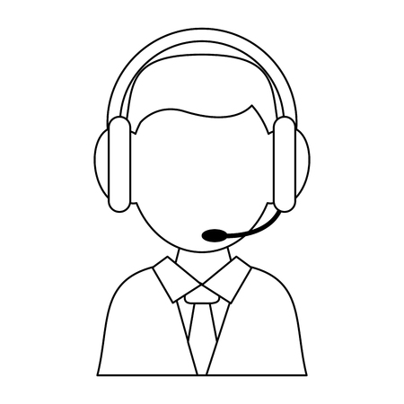 Call center agent with headphones avatar vector illustration graphic design
