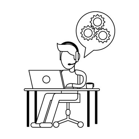 freelancer working with laptop on desk vector illustration graphic design Illustration