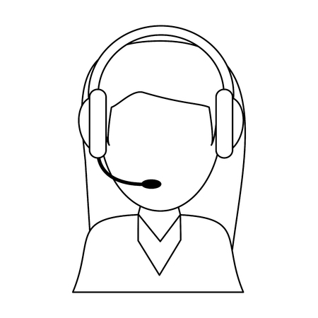 call center agent with headset faceless vector illustration graphic design Illustration