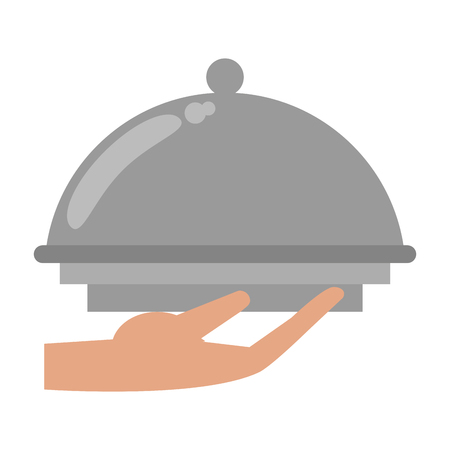 hand holding restaurant bell dome vector illustration graphic design