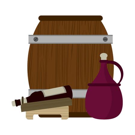 Wine barrel and bottle with jar isolated vector illustration graphic design Vektoros illusztráció