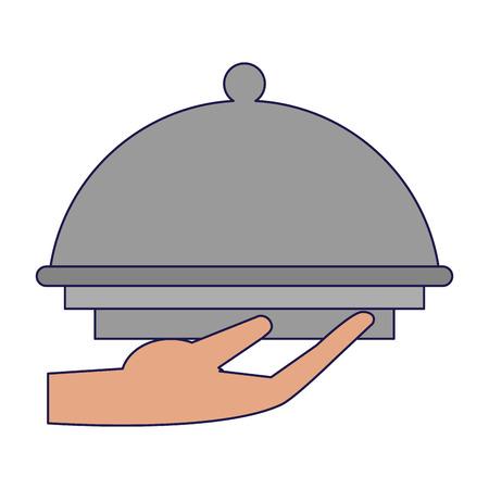 hand holding restaurant bell dome vector illustration graphic design