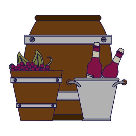 Wine barrel and grapes in bucket and bottes in buckets vector illustration graphic design Illusztráció