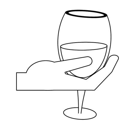 hand holding wine cup vector illustration graphic design Ilustração Vetorial