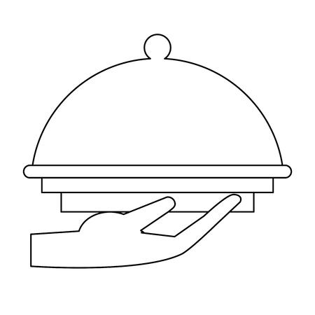 hand holding restaurante bell dome vector illustration graphic design Ilustração