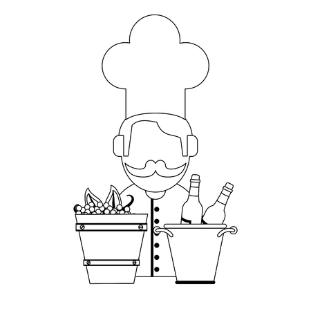 Wine bottle in ice bucket and grapes and chef avatar vector illustration graphic design